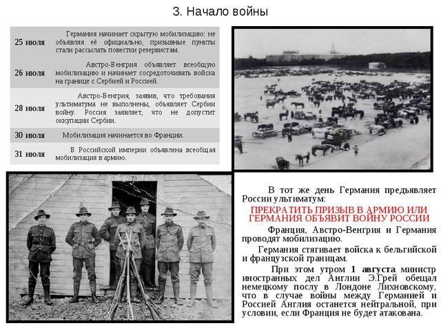 В тот же день Германия предъявляет России ультиматум: ПРЕКРАТИТЬ ПРИЗЫВ В АР...