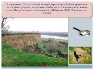 В конце марта 2009 года сползло 35 метров берега к руслу Кубани, причём тело