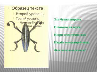 Эта буква широка И похожа на жука. И при этом точно жук Издаёт жужжащий звук: