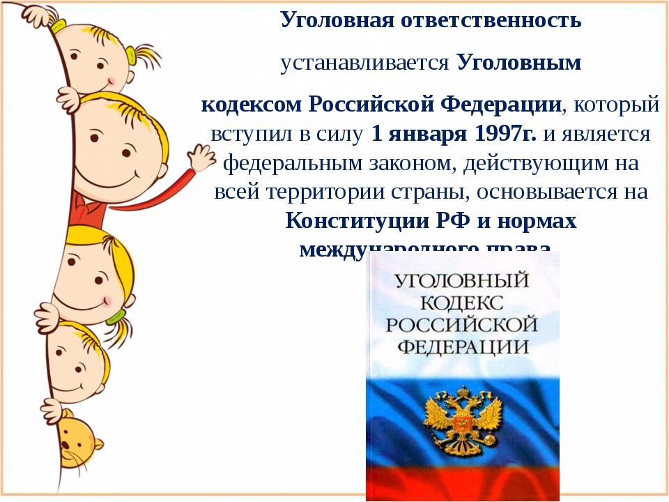Уголовная ответственность устанавливается Уголовным кодексом Российской Федер...