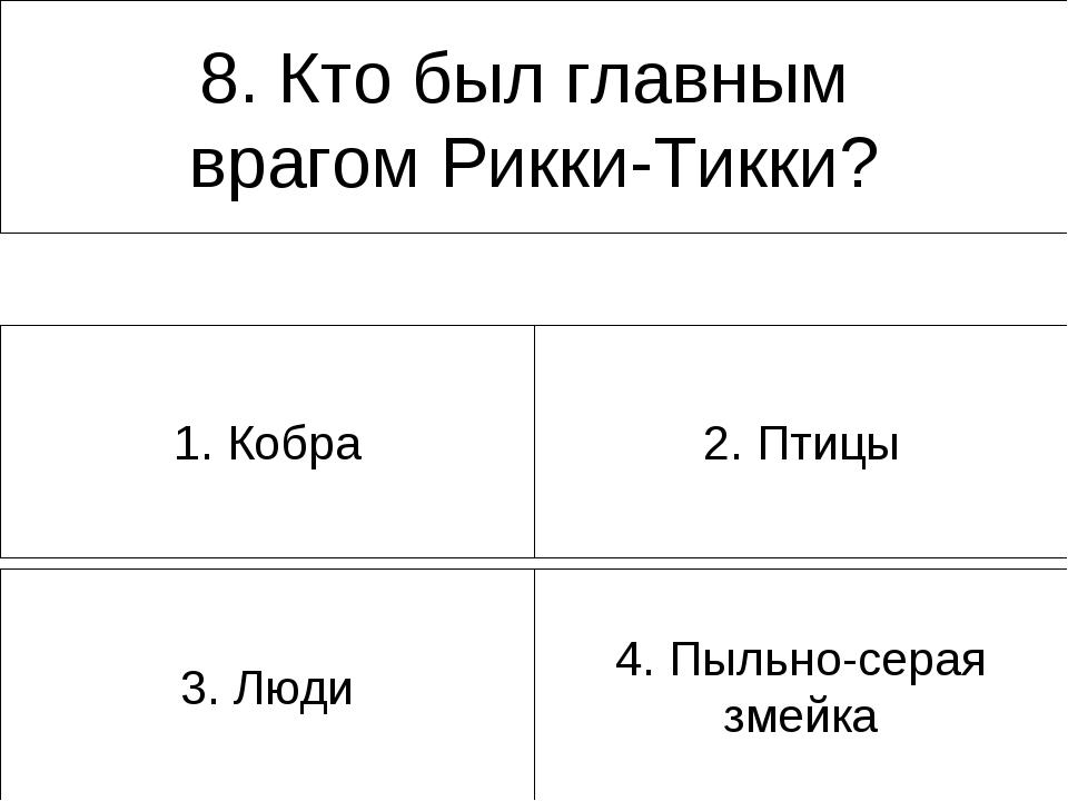 3. Люди 4. Пыльно-серая змейка 1. Кобра 2. Птицы 8. Кто был главным врагом Ри...