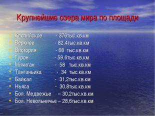 Крупнейшие озера мира по площади Каспийское - 376тыс.кв.км Верхнее - 82,4тыс.
