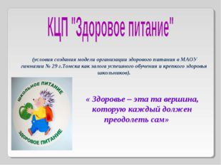 (условия создания модели организации здорового питания в МАОУ гимназии № 29