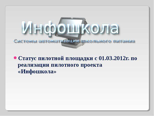 Статус пилотной площадки с 01.03.2012г. по реализации пилотного проекта «Инф...