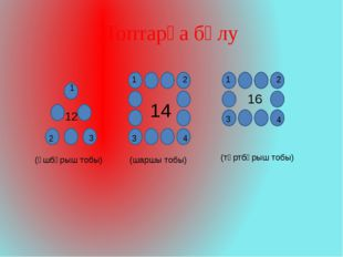 Топтарға бөлу 12 14 16 (үшбұрыш тобы) (шаршы тобы) (төртбұрыш тобы) 1 2 3 1 2