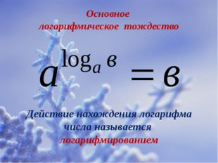 Основное логарифмическое тождество Действие нахождения логарифма числа называ