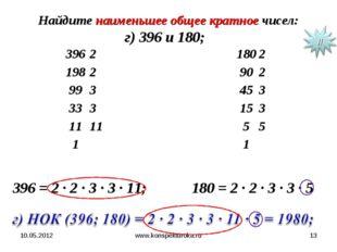 10.05.2012 www.konspekturoka.ru * Найдите наименьшее общее кратное чисел: г)