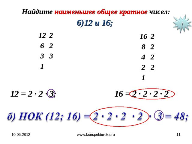 10.05.2012 www.konspekturoka.ru * Найдите наименьшее общее кратное чисел: б)1...