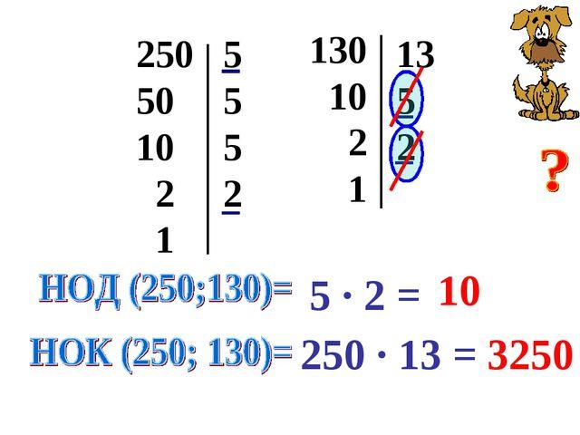 250 50 10 2 1 5 5 5 2 130 10 2 1 13 5 2 5 · 2 = 10 250 · 13 = 3250