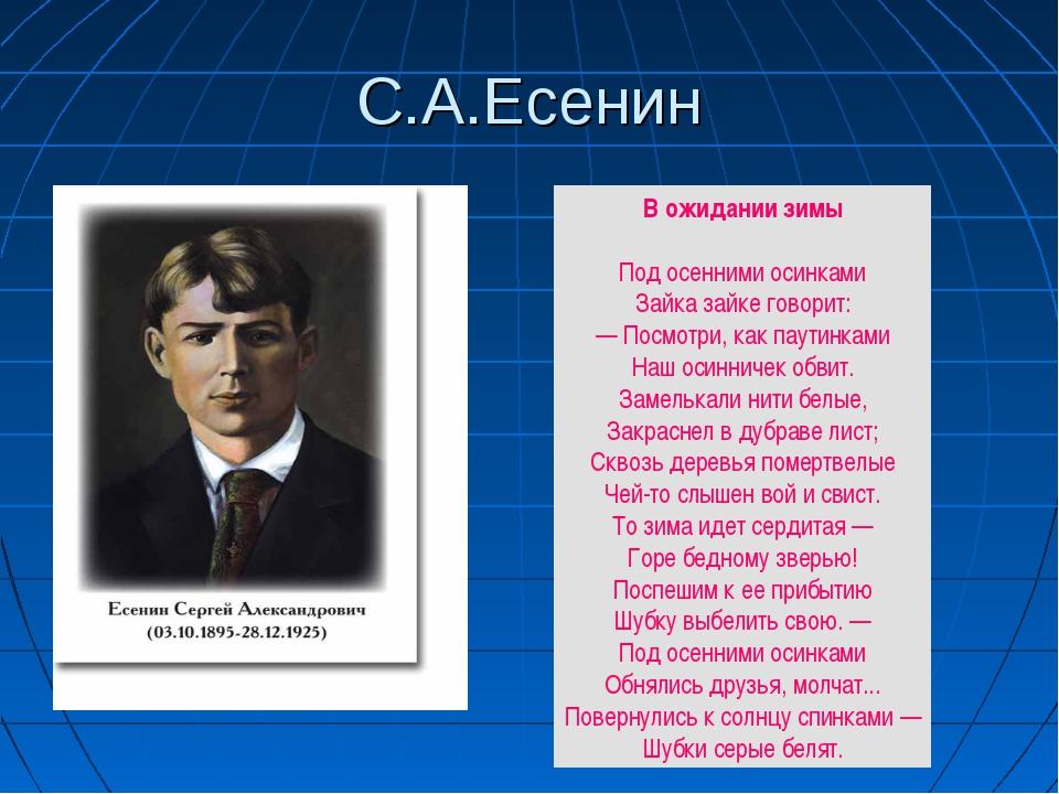 С.А.Есенин В ожиданиизимы Под осенними осинками Зайка зайке говорит: — Посмо...