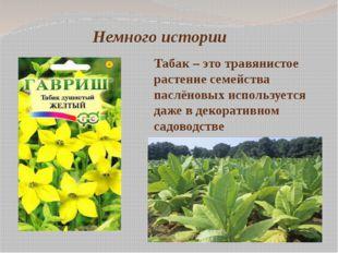 Немного истории Табак – это травянистое растение семейства паслёновых использ
