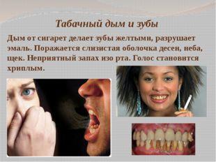 Табачный дым и зубы Дым от сигарет делает зубы желтыми, разрушает эмаль. Пора