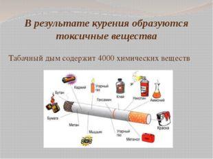 В результате курения образуются токсичные вещества Табачный дым содержит 4000