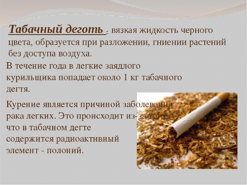 Табачный деготь - вязкая жидкость черного цвета, образуется при разложении, г...
