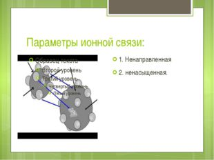 Параметры ионной связи: 1. Ненаправленная 2. ненасыщенная.