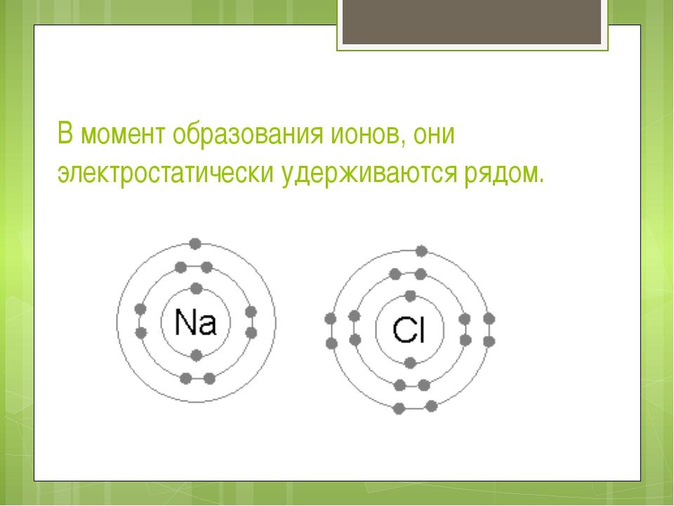 В момент образования ионов, они электростатически удерживаются рядом.