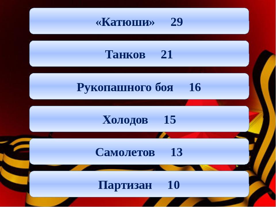 «Катюши» 29 Танков 21 Рукопашного боя 16 Холодов 15 Самолетов 13 Партизан 10