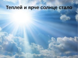 Теплей и ярче солнце стало