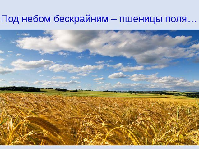 Под небом бескрайним – пшеницы поля…