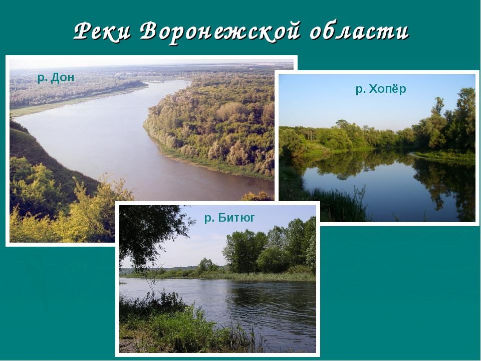 Реки Воронежской области р. Дон р. Хопёр р. Битюг