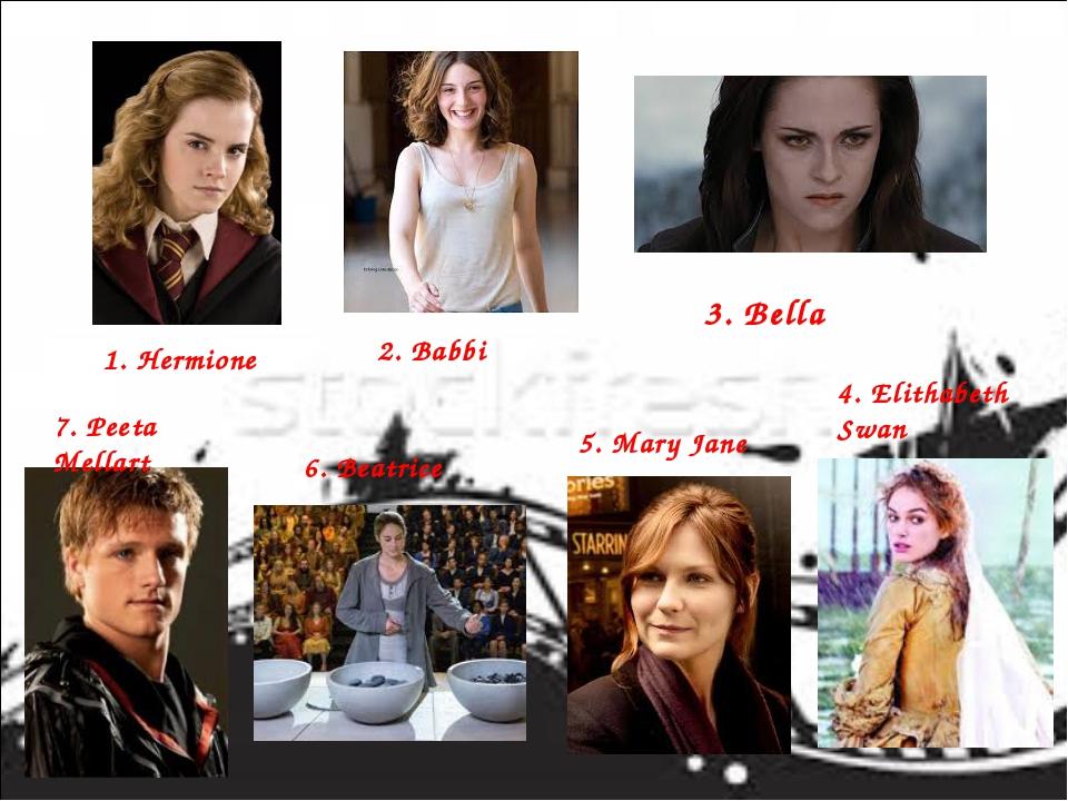 1. Hermione 2. Babbi 3. Bella 4. Elithabeth Swan 5. Mary Jane 6. Beatrice 7....
