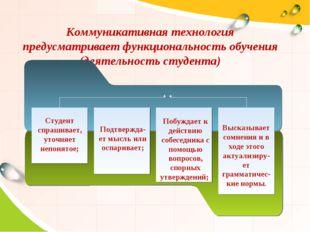 Коммуникативная технология предусматривает функциональность обучения (деятель