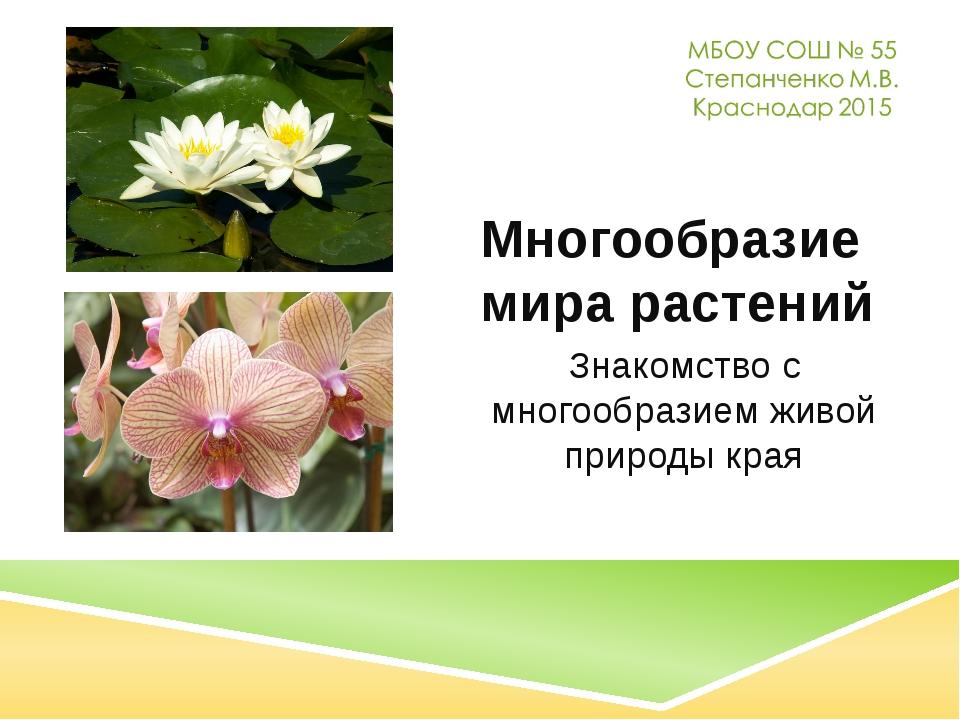 Многообразие мира растений Знакомство с многообразием живой природы края