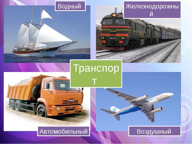 Транспорт Водный Железнодорожный Автомобильный Воздушный