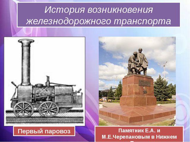 История возникновения железнодорожного транспорта Памятник Е.А. и М.Е.Черепа...