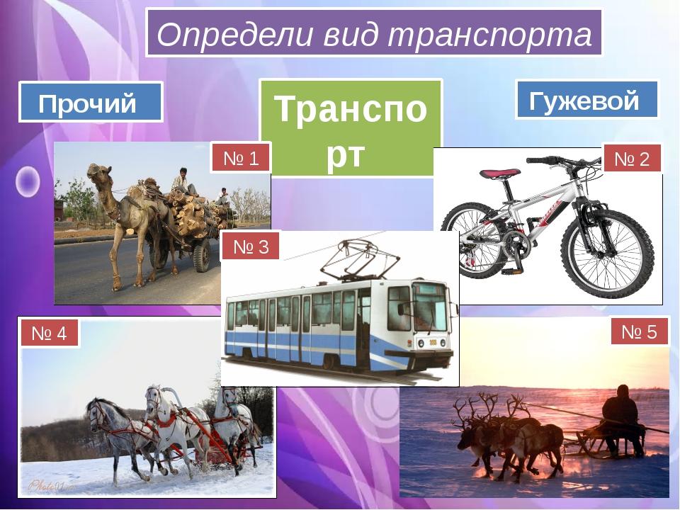 Транспорт Гужевой Прочий Определи вид транспорта № 1 № 2 № 3 № 4 № 5