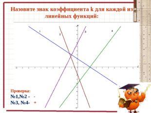 Назовите знак коэффициента k для каждой из линейных функций: Проверка: №1,№2