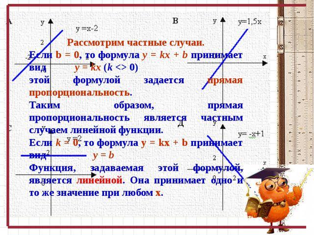 Рассмотрим частные случаи. Если b = 0, то формула y = kx + b принимает вид y...