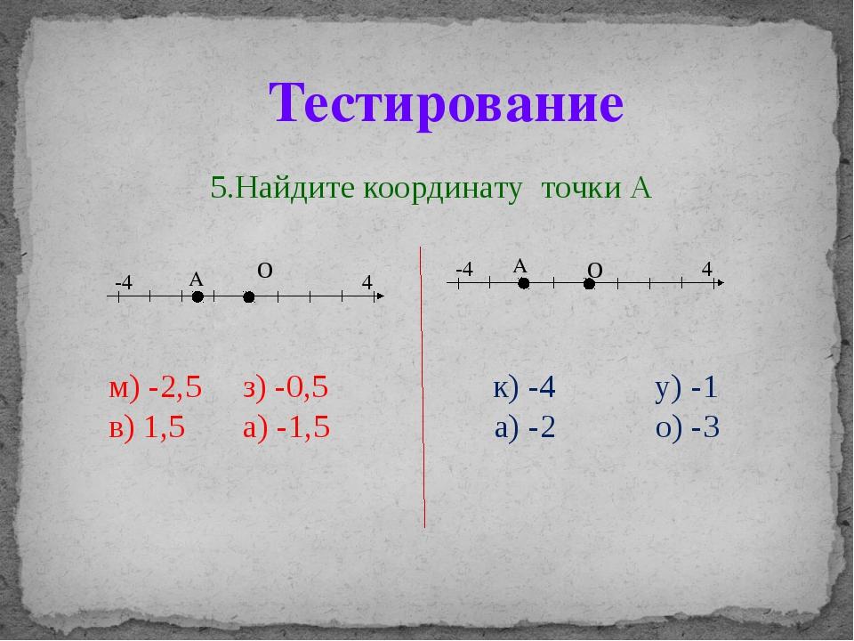 5.Найдите координату точки А о о м) -2,5 з) -0,5 к) -4 у) -1 в) 1,5 а) -1,5...