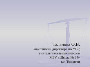 Таланова О.В. Заместитель директора по УВР, учитель начальных классов МБУ «Шк