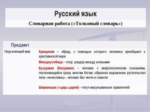 Русский язык Словарная работа («Толковый словарь») Предмет Окружающий мирКр