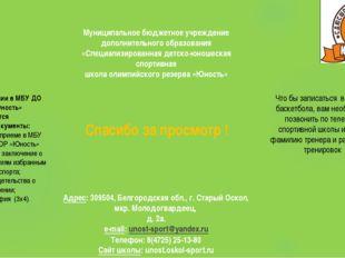 Муниципальное бюджетное учреждение дополнительного образования «Специализиро