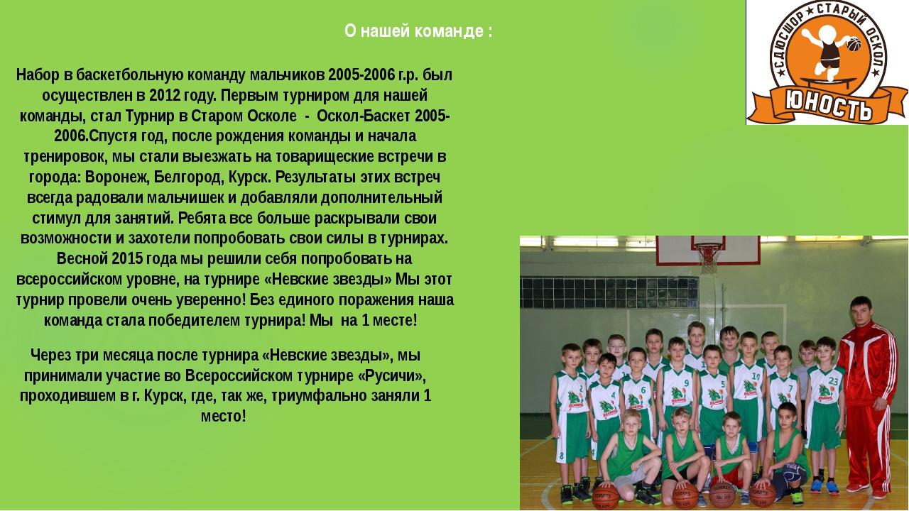 О нашей команде : Набор в баскетбольную команду мальчиков 2005-2006 г.р. был...