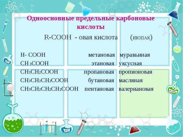 Одноосновные предельные карбоновые кислоты R-COOH - овая кислота (ИЮПАК) H- C...
