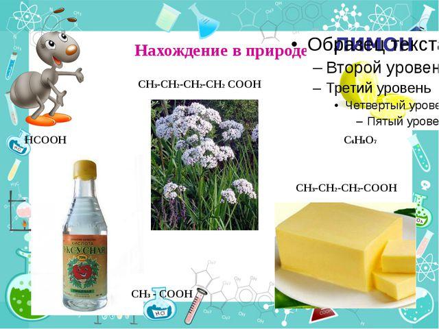 Нахождение в природе HCOOH CH3 - COOH CH3-CH2-CH2-CH2 COOH CH3-CH2-CH2-COOH...
