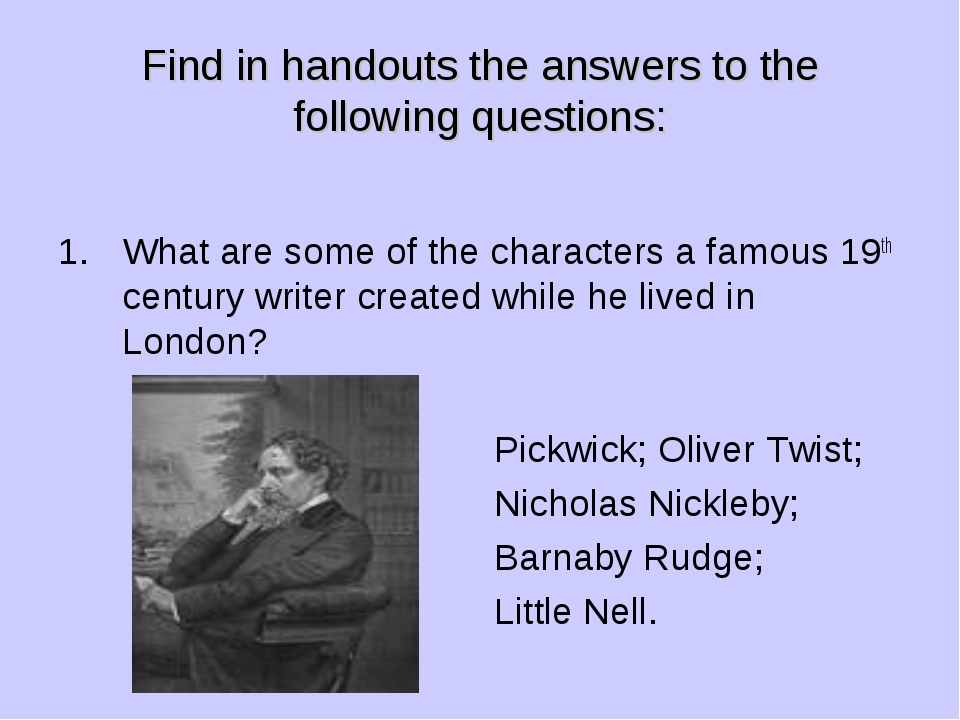 Find in handouts the answers to the following questions: What are some of the...