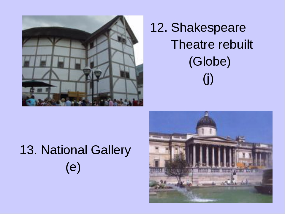 13. National Gallery (e) 12. Shakespeare Theatre rebuilt (Globe) (j)