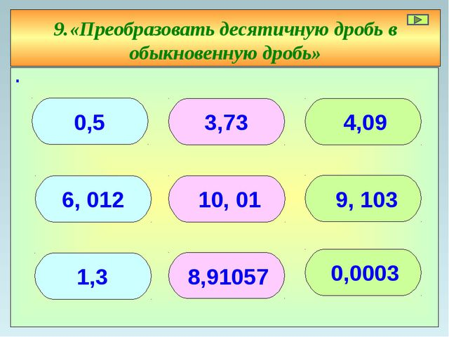 ∙ 9.«Преобразовать десятичную дробь в обыкновенную дробь» 0,5 3,73 4,09 1,3 0...