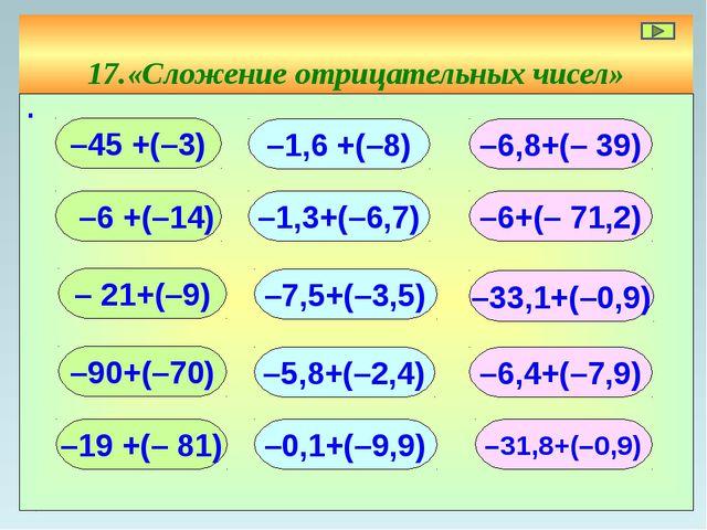 17.«Сложение отрицательных чисел» ∙