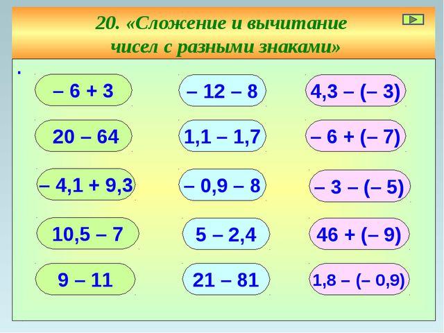 20. «Сложение и вычитание чисел с разными знаками» ∙