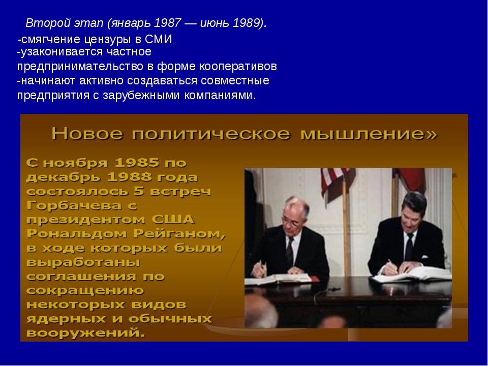 Второй этап (январь 1987 — июнь 1989). -смягчение цензуры в СМИ -узакониваетс...