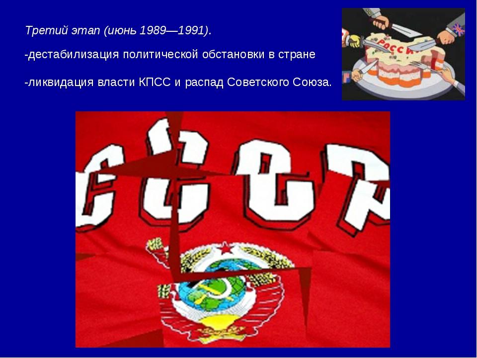 Третий этап (июнь 1989—1991). -дестабилизация политической обстановки в стран...