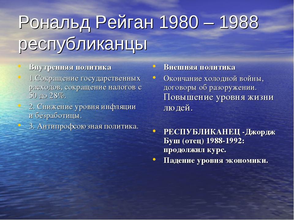 Рональд Рейган 1980 – 1988 республиканцы Внутренняя политика 1.Сокращение гос...
