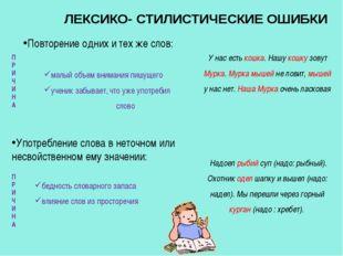 ЛЕКСИКО- СТИЛИСТИЧЕСКИЕ ОШИБКИ Повторение одних и тех же слов: У нас есть ко