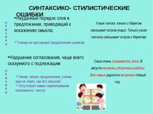 СИНТАКСИКО- СТИЛИСТИЧЕСКИЕ ОШИБКИ Неудачный порядок слов в предложении, прив