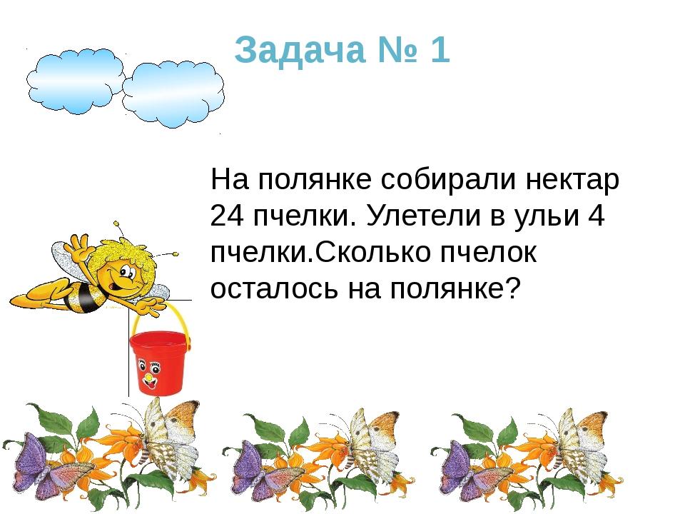 Задача № 1 На полянке собирали нектар 24 пчелки. Улетели в ульи 4 пчелки.Скол...